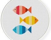 Colorful Fishies PDF Cross Stitch Pattern Needlecraft - Instant Download - Modern Chart