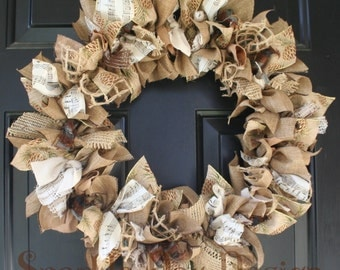 Winter Wreath Christmas Wreath Man Cave Holiday Wreath With Brown Pinecones Music Notes Rustic Holiday Wreath Masculine Wreath Cabin Wreath
