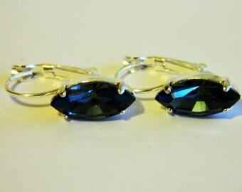 Denim blue Navette hanging earrings