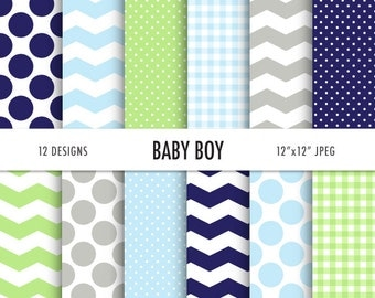 "BABY BOY Digital Paper, 12 Digital Scrapbooking Papers, gingham, chevron, polka dots, 12"" x 12""  300 dpi  JPEG, Instant Download"