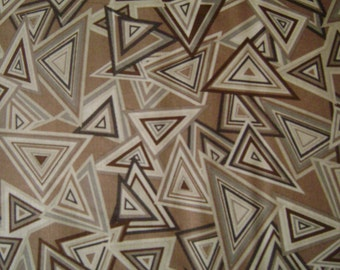 Brown & Tan Geometric Triangles Cotton Fabric by the yard
