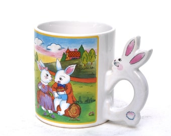 Bunny Coffee Mug with Bunny Handle / Easter Bunny Coffee Mug with Bunny Handle  /  Porcelain Bunny Coffee Cup Made in Japan