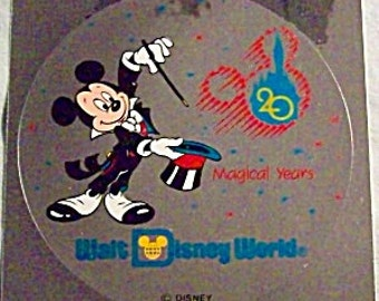 "Vintage WALT DISNEY WORLD ""20 Magical Years""  Decal - 1992"