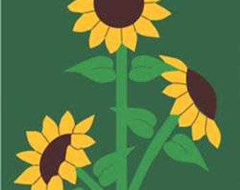 Sunflowers Handcrafted Applique House Flag