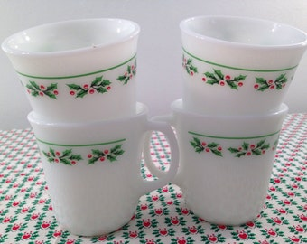 Vintage Correlle Christmas Holly-Day Mugs