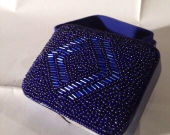 blue beaded jewelry box vintage