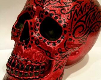Custom Red and Black Glitter Hand Painted Sugar Skull