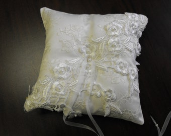 Heirloom soft white lace Ring Bearer Pillow