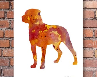 Rottweiler Art Print - Abstract Watercolor Painting - Wall Decor