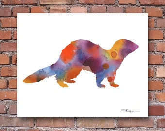 Ferret Art Print - Abstract Watercolor Painting - Animal Art - Wall Decor