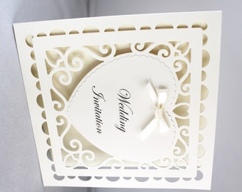 25 Handmade Wedding Invitations heart detail