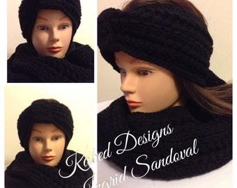 Braid Infinity and Headband set, infinty scarf set. Infinity scarf, headband, earwarmer and infinity scarf set