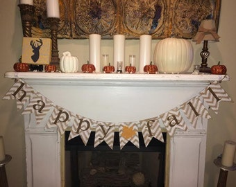 Chevron Burlap Happy Fall Banner~Fall Banner