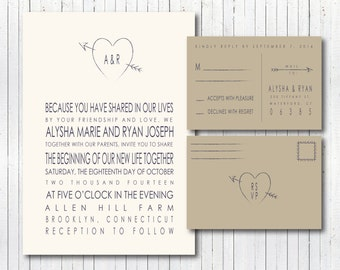 Rustic Modern Wedding Invitation & RSVP Postcard
