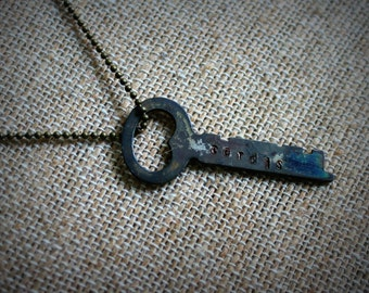 Hand Stamped Bronze Tardis Key Necklace Made with a Vintage Key