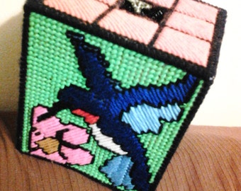 Cross-Stitched Hummingbird Tissue Box Cover