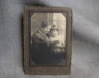 Vintage Photographic Portrait of Mother and Daughter Reading  Book for Decor or Altered Art