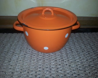 Vintage Soviet 1960s Orange and White Polka Dot Enamel Cooking Pot with Lid CUTE!