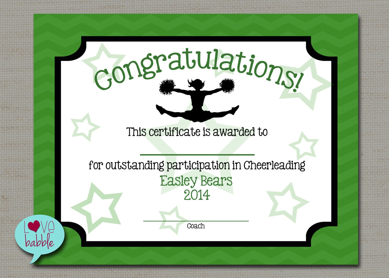 Cheerleading cheer award certificate dance gymnastics award for Cheer certificates
