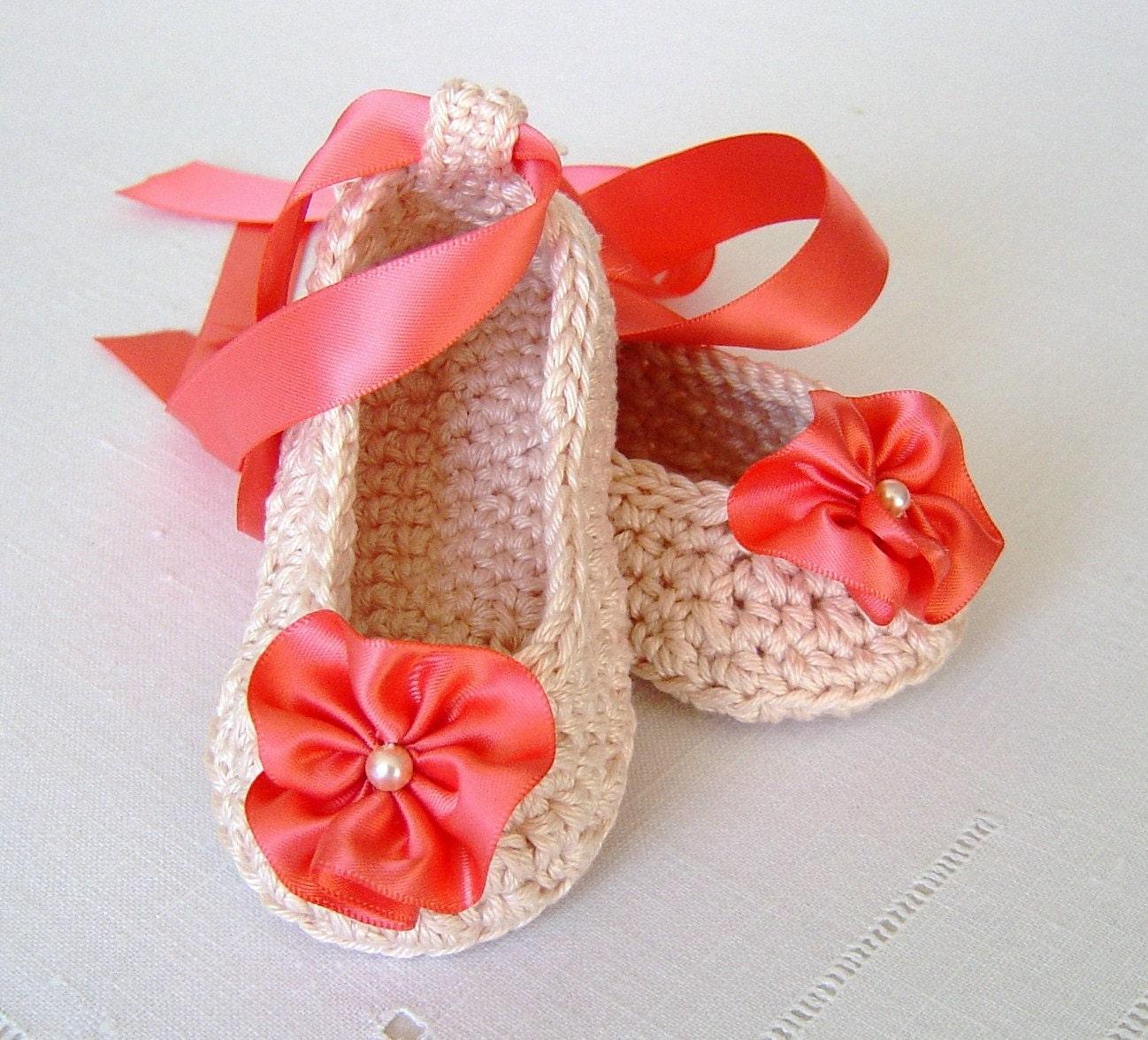 Crochet Baby Ballet Shoes Pattern : Crochet Pattern Baby Ballerina Slippers Easy by matildasmeadow