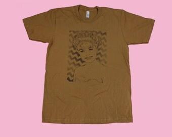 Laura Palmer Camel Brown Screenprinted Tshirt Twin Peaks