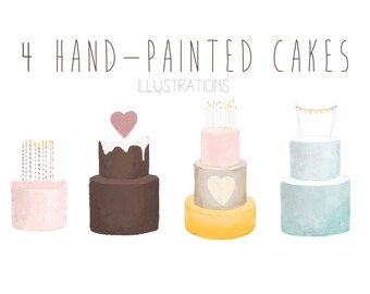 hand-painted cakes clip art, watercolor cakes, birthday cake, wedding cake, cake clipart, chocolate cake