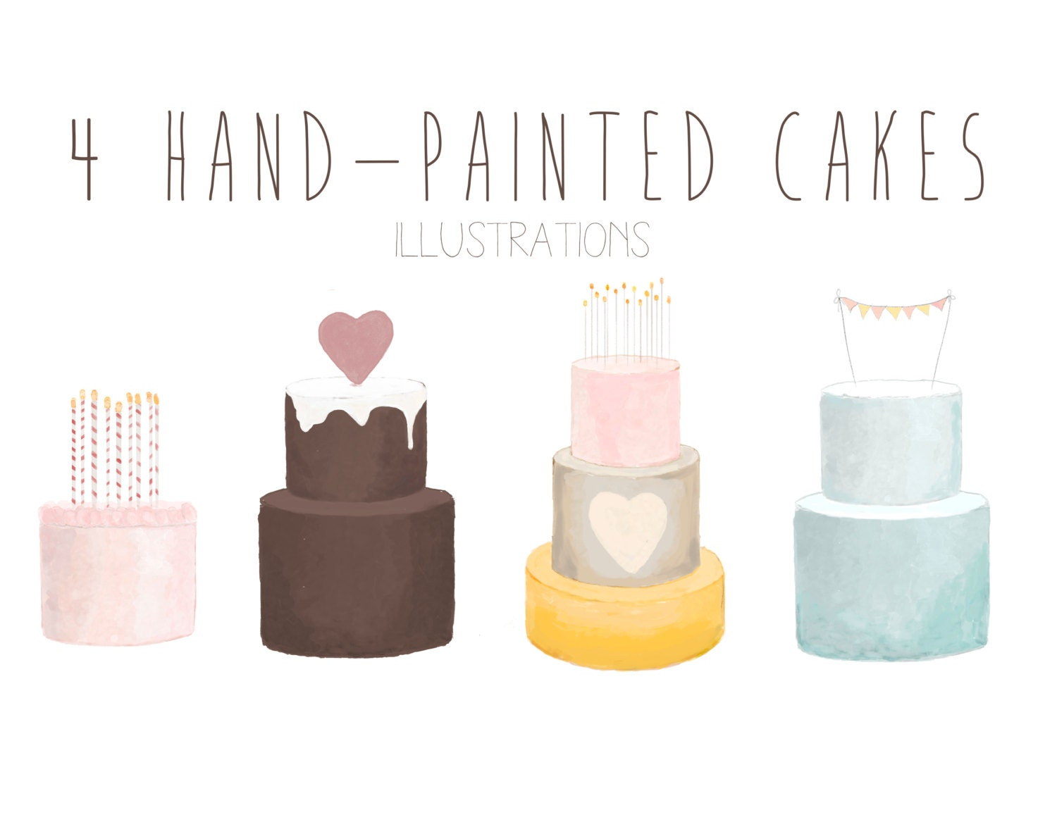 Watercolor Cake Clip Art : hand-painted cakes clip art watercolor cakes birthday cake