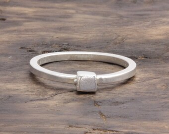 925 sterling silver single cube ring , geometric ring