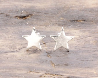 925 stering silver shiny star stud earrings, gift for her (E_00015)