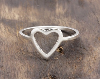 1.0 mm 925 sterling silver open heart band ring