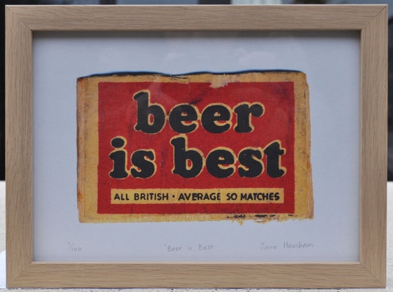 Beer Is Best Safety Matches Vintage Matchbox Label Framed Print - Limited Edition