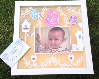 Personalised handcut garden teaparty birthday photoframe papercut framed