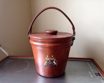 Large Leather Ice Bucket, Coat of Arms, English Royal Crest, Antique