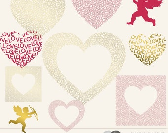 15 Digital Valentine Embellishments, Hearts and Angel of Love Amor, Digital Clipart, Digital Scrapbook Supplies - 113
