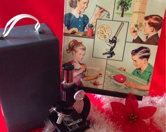 Vintage Children's Science Gift Set- 1960s microscope and How and Why Book of Science