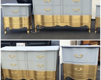 Six drawer French Provincial Dresser, Nightstands, Changing Table, Buffet, Credenza, bedroom furniture,grey and gold dipped
