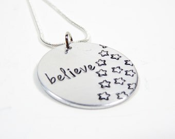 Believe hand stamped necklace with multiple stars! BEAUTIFUL!!!