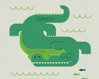 Crocodile and Child, Retro Print, Wall Art, Home Decor