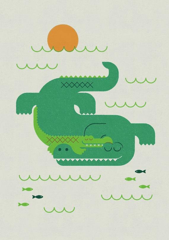 Crocodile and Child, Retro Print, Wall Art, Home Decor
