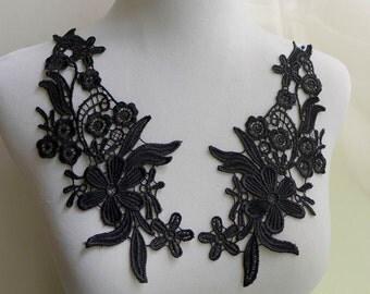 One Pair Black Lace Applique for Sashes, Dress Applique, Sewing, Costume Design