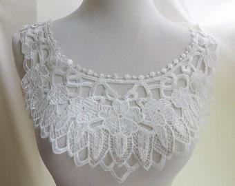 White Lace Collar Applique for Bridal Accessories, Victorian, Jewelry Supply, Costume Design