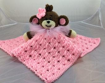 Monkey Lovey or Security Blanket - PDF crochet pattern - Monkey tutorial - Baby Blankie turorial - Ballerina Monkey - Pink Monkey binky