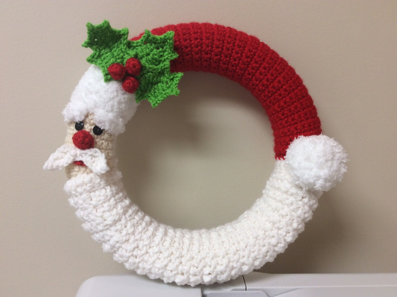 Crochet Decoration Patterns Crochet Santa Wreath Tutorial Santa Decoration Winter