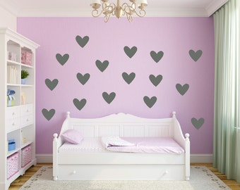Heart Wall Decal Set Gold Heart Vinyl Decals Heart Shaped Decal Girls Nursery Bedroom Decal Trendy Metallic Gold Teen Girl