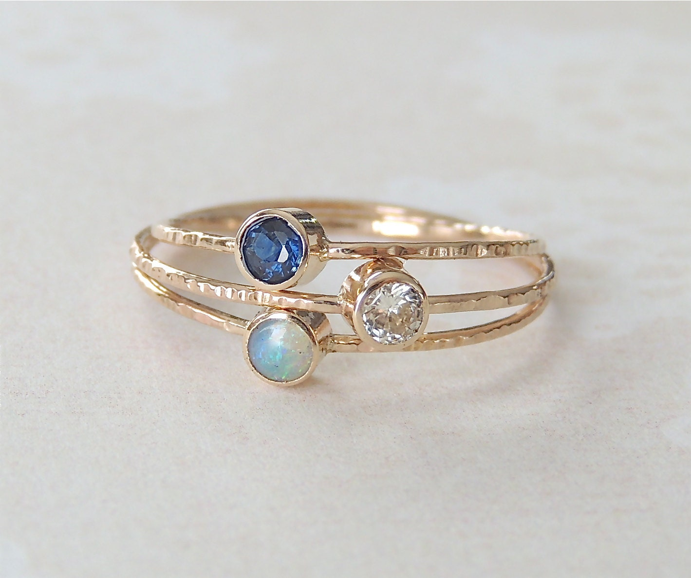 Sapphire Ring Opal Ring Moissanite Ring Gold Ring Set by Luxuring