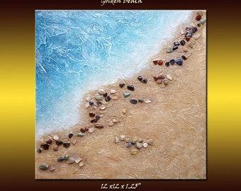 "Sale! Abstract Coastal Beach Stone Art Mixed Media Original Acrylic Painting Pebble Beach Art 12""X12"""