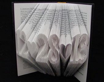 Anniversary Gift . Commemorative Date . MM-DD-YY . Folded Book Art Sculpture