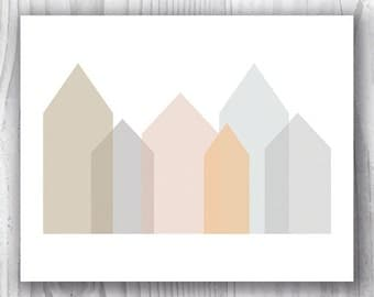 Pastel Geometric Art Print, Muted Colors Art, Abstract Cityscape Art Print, Scandinavian Inspired Art, Neutral Wall Art, Pastel Wall Art
