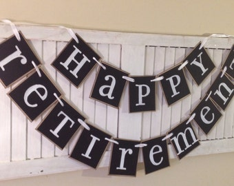 Happy Retirement Banner Sign Bunting Garland Swag black and White Party Decoration