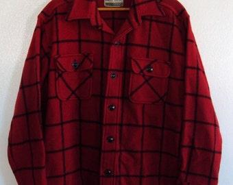 vintage 60's PLAID WOOL shirt Main Guide rockabilly greaser hunter sz L